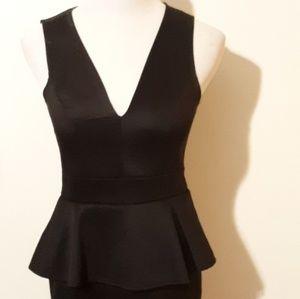 Dresses & Skirts - Black V Neck Skirted Dress